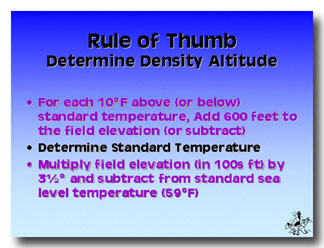 Density Altitude - Altitude elevation